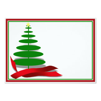 Christmas Tree with Red Ribbon Card