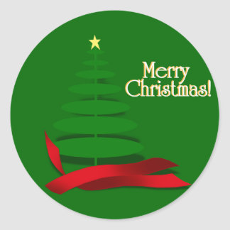 Christmas Tree with Red Ribbon Classic Round Sticker