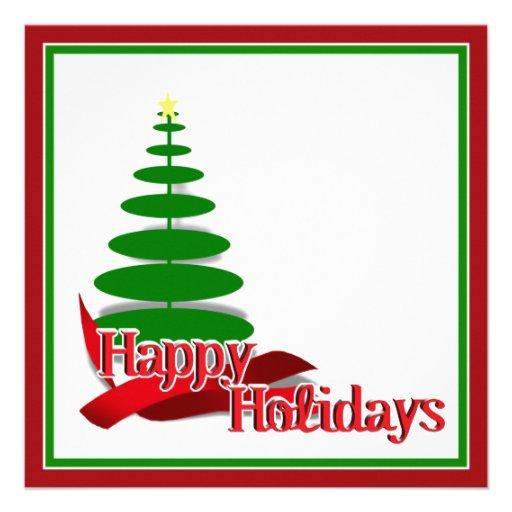 Christmas Tree with Red Ribbon Custom Invitations
