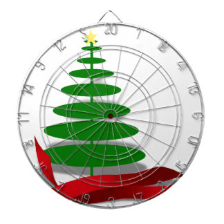 Christmas Tree with Red Ribbon Dart Boards