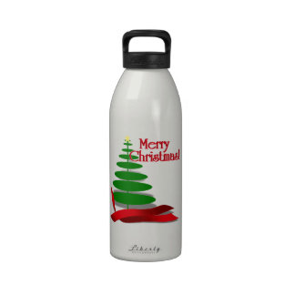Christmas Tree with Red Ribbon Drinking Bottle