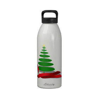 Christmas Tree with Red Ribbon Drinking Bottles
