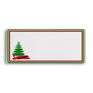 Christmas Tree with Red Ribbon Envelope