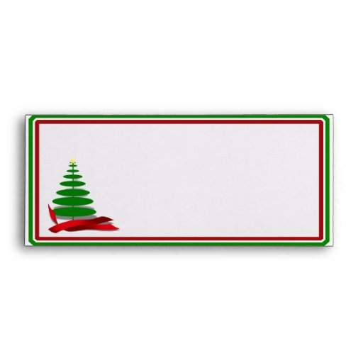 Christmas Tree with Red Ribbon Envelopes