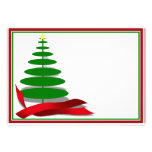 Christmas Tree with Red Ribbon Personalized Invitation
