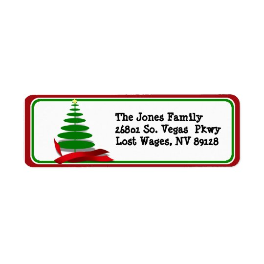 Christmas Tree with Red Ribbon Label