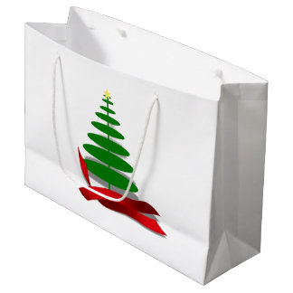 Christmas Tree with Red Ribbon Large Gift Bag