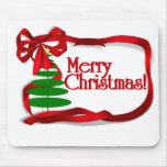 Christmas Tree with Red Ribbon Mouse Pad