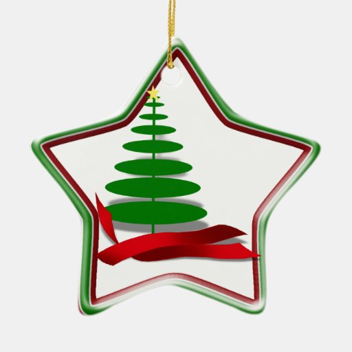 Christmas Tree with Red Ribbon Double-Sided Star Ceramic Christmas Ornament
