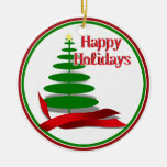 Christmas Tree with Red Ribbon Ornaments