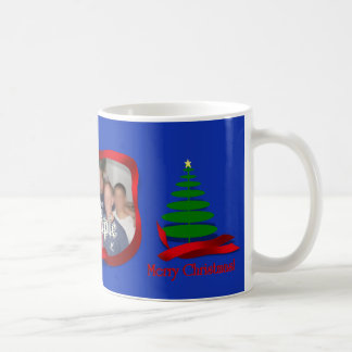 Christmas Tree with Red Ribbon Photo Frame Mugs