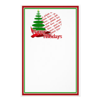 Christmas Tree with Red Ribbon Photo Frame Stationery