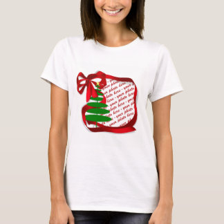 Christmas Tree with Red Ribbon Photo Frame T-Shirt