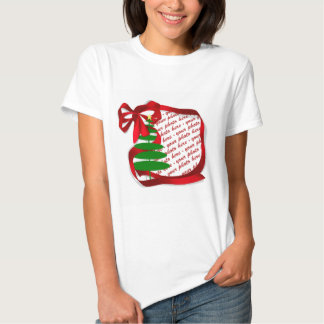 Christmas Tree with Red Ribbon Photo Frame Tee Shirt