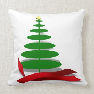 Christmas Tree with Red Ribbon Pillows