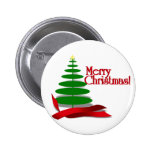 Christmas Tree with Red Ribbon Pinback Button