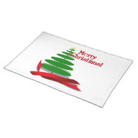 Christmas Tree with Red Ribbon Place Mat