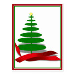 Christmas Tree with Red Ribbon Postcards