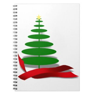 Christmas Tree with Red Ribbon Spiral Note Book