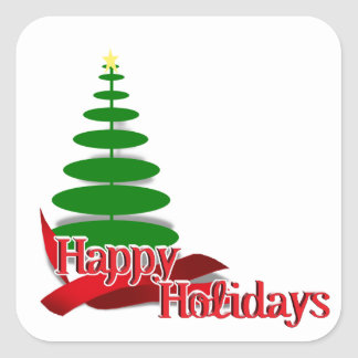 Christmas Tree with Red Ribbon Square Stickers