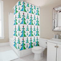 Christmas Tree with Red Star Shower Curtain