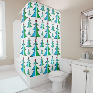 Mustache Santa Claus Shower Curtain · Christmas Tree With Red Star