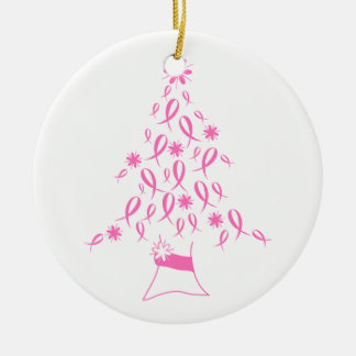 Christmas Tree with Ribbons Breast Cancer Ceramic Ornament