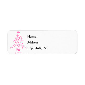 Christmas Tree with Ribbons Breast Cancer Label