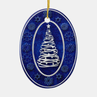 Christmas Tree with Silver Accents Ceramic Ornament