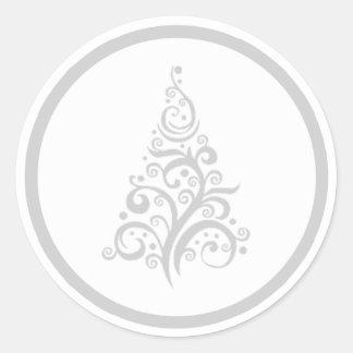 Christmas tree with silver gray swirls sticker