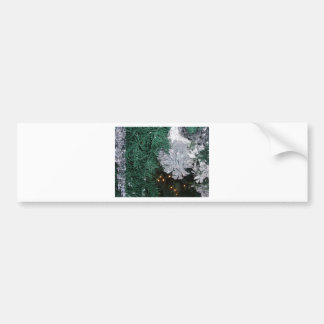 Christmas Tree with Silver Pine Cone Car Bumper Sticker