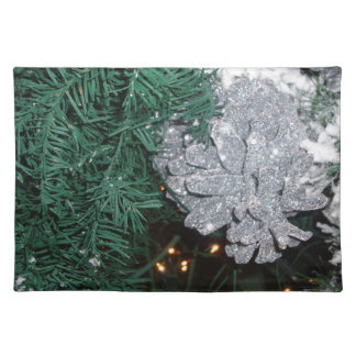 Christmas Tree with Silver Pine Cone Place Mats