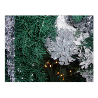 Christmas Tree with Silver Pine Cone Postcard