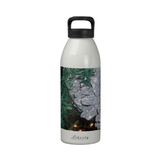 Christmas Tree with Silver Pine Cone Reusable Water Bottles