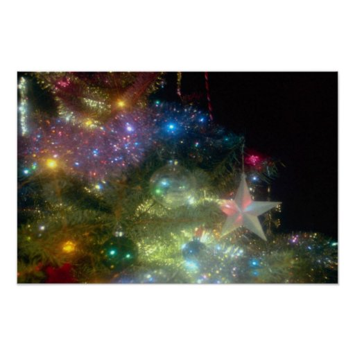 Christmas tree with star at night posters