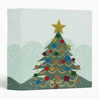 Christmas tree with star, bulbs and snow binder