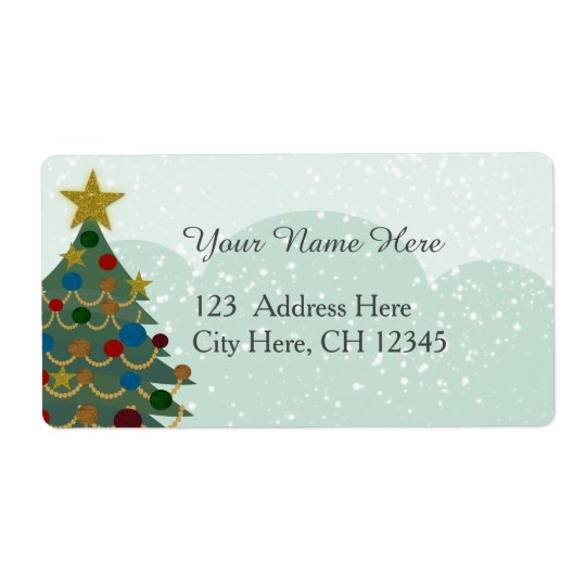 christmas tree with star bulbs and snow label zazzle com