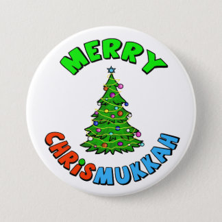 Christmas Tree with Star of David on Top Button