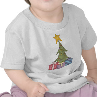 Christmas tree with star & packages t shirts