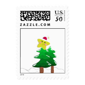 Christmas Tree with Star Postage