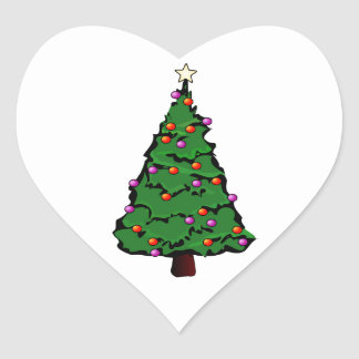 Christmas Tree with Star & Red & Purple Ornaments Heart Sticker