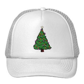 Christmas Tree with Star & Red & Purple Ornaments Trucker Hat