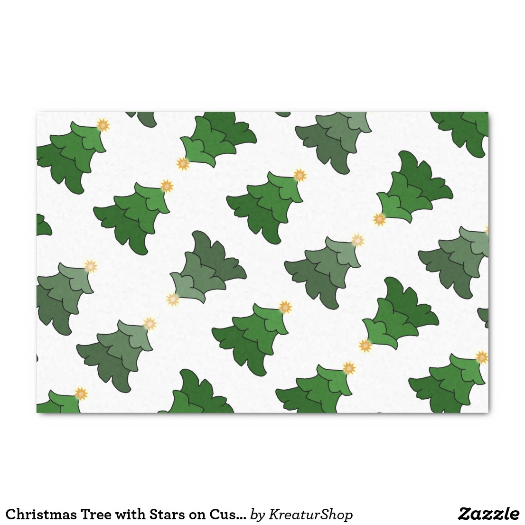 Christmas Tree with Stars on Custom White