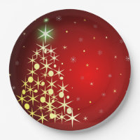 Christmas tree with stars paper plate