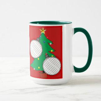 Christmas Tree with Two Ornament Photo Frames Mug