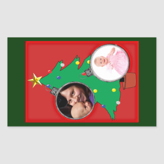 Christmas Tree with Two Ornament Photo Frames Rectangular Sticker
