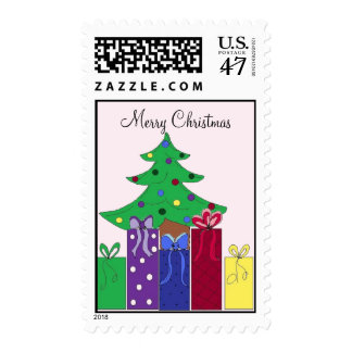 Christmas Tree with Wrapped Packages Postage Stamp