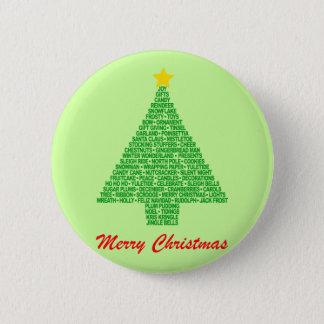 Christmas Tree Words Pinback Button