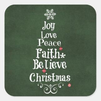 Christmas Tree Words Square Sticker