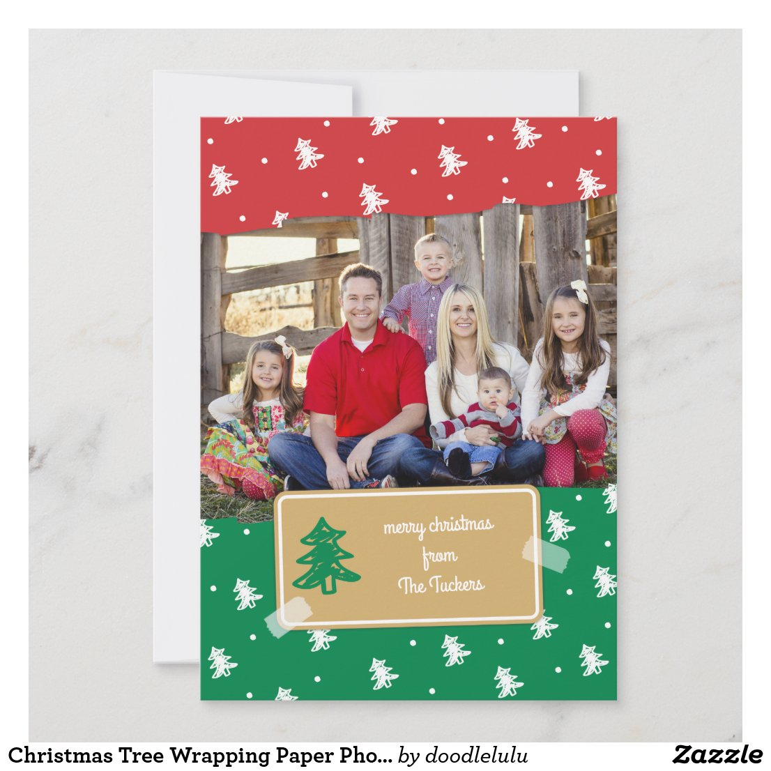 Christmas Tree Wrapping Paper Photo Card